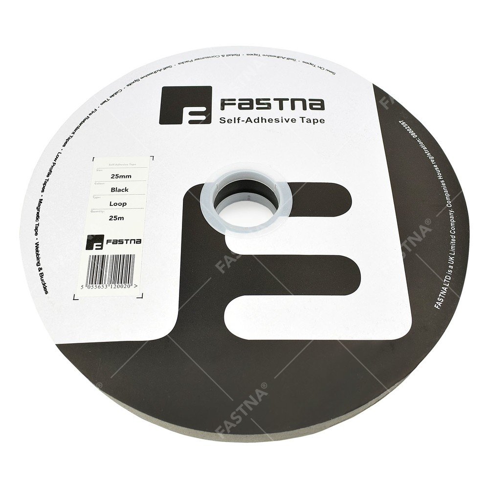 25m x Stick On / Self Adhesive FASTNA® Hook & Loop Tape