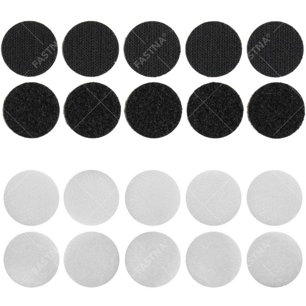 10 x Stick On / Self Adhesive FASTNA® Hook & Loop Spots